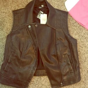 Free Press Leather Vest NWT